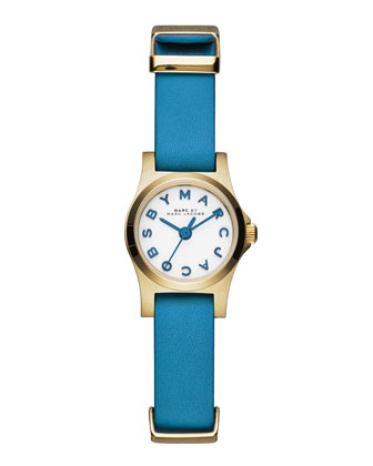 Henry Dinky Analog Watch with Leather Strap, Golden/Blue