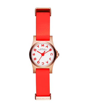 Henry Dinky Analog Watch with Leather Strap, Rose Golden/Red
