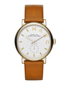 Baker Analog Watch with Leather Strap, Stainless/Tan
