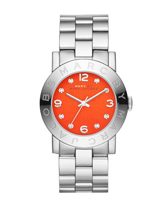36mm Amy Crystal Analog Watch with Bracelet Strap, Stainless/Red
