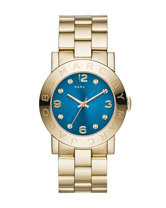 36mm Amy Crystal Analog Watch with Bracelet Strap, Golden/Blue