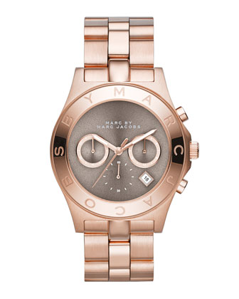 Blade Rose Golden Chronograph Watch with Gray Dial