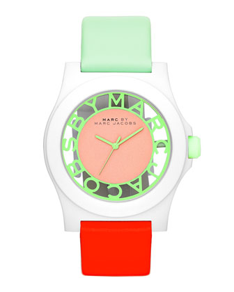 Colorblock Henry Skeleton Watch with Leather Strap, White/Mint/Coral