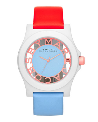 Colorblock Henry Skeleton Watch with Leather Strap, White/Coral/Ice
