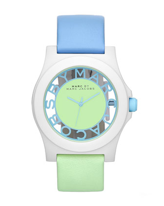 Colorblock Watch with Leather Strap, White/Ice/Mint