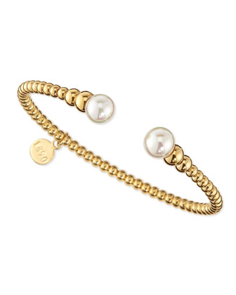 18-Karat Gold-Plated Bangle with Logo Charm, 2