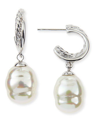 Rhodium-Plated Hoop & Pearl Drop Earrings
