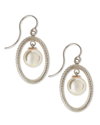 10mm Pearl-Drop Silver Oval Earrings
