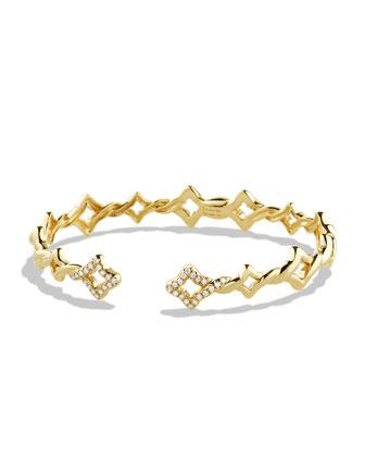 Venetian Quatrefoil Single-Row Bracelet with Diamonds in Gold