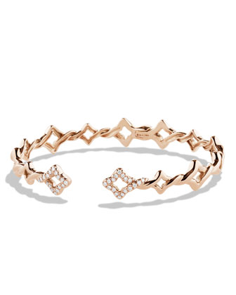 Venetian Quatrefoil Single-Row Bracelet with Diamonds in Rose Gold