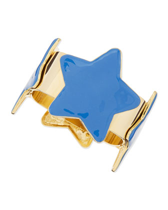 Star Square Bangle, Gold/Blue
