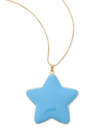 Oversized Star Pendant Necklace, Gold/Blue