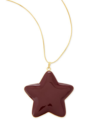 Oversized Star Pendent Necklace, Gold/Port