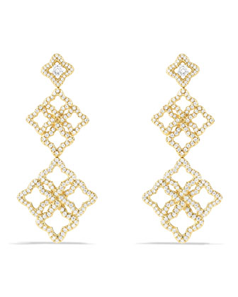 Venetian Quatrefoil Cluster Earrings with Diamonds in Gold