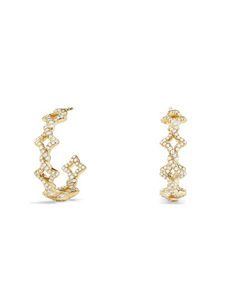 Venetian Quatrefoil Hoop Earrings with Diamonds in Gold