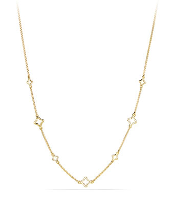 Venetian Quatrefoil Chain Necklace with Diamonds in Gold