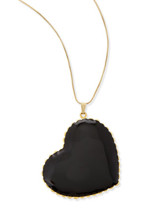 Oversized Heart Pendant Necklace, Gold/Black