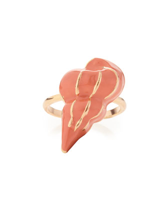 Shell Ring, Rose Gold/Coral
