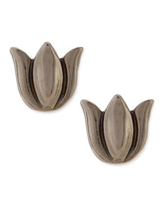 Tulip Stud Earrings, Gunmetal