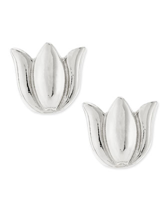 Tulip Stud Earrings, Silver