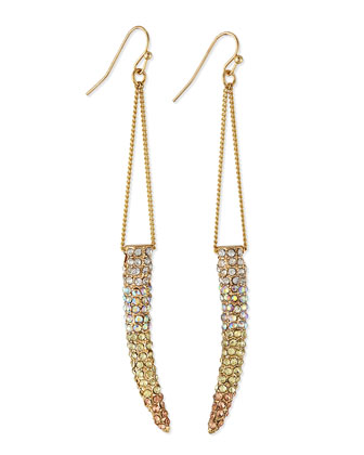 Gradient Pave Horn Dangle Drop Earrings
