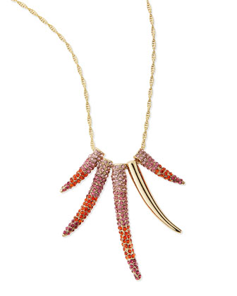Pave Horn Gradient Long Necklace, Pink Multi