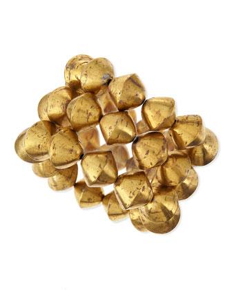 African Brass Bead Stretch Bracelet, Set of 3