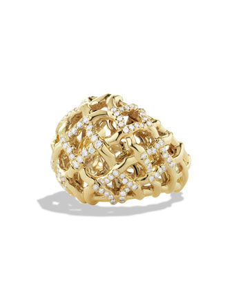 Venetian Quatrefoil Dome Ring with Diamonds in Gold