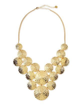Hammered Discs Statement Necklace, Gold Plate