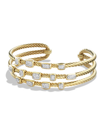 Confetti Narrow Cuff Bracelet with Diamonds in Gold
