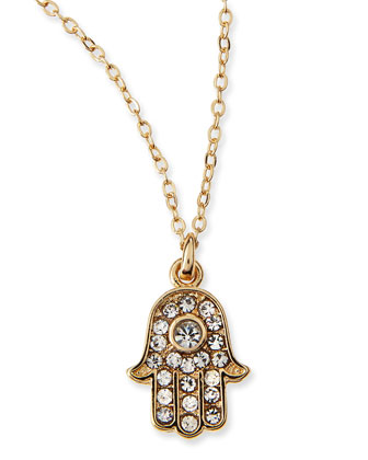 Hamsa Charm Pave Crystal Necklace