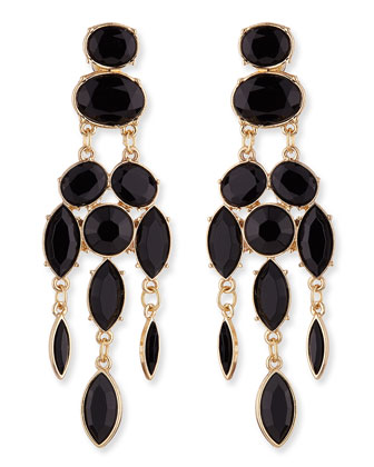 Black Drop Chandelier Earrings