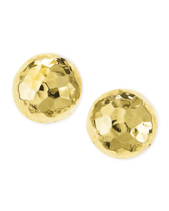 Post Hammered Gold-Plated Half-Ball Stud Earrings