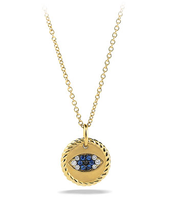 Cable Collectibles Evil Eye Charm Necklace with Blue Sapphire, Black ...