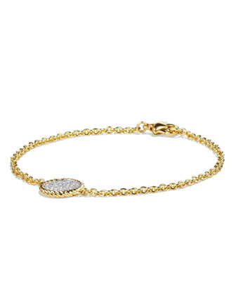 Cable Pav?? Charm Bracelet with Diamonds in Gold
