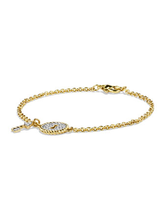 Cable Pav� Lock & Key Charm Bracelet with Diamonds in Gold