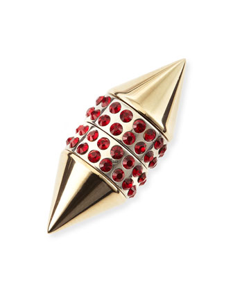 Single Small Double Cone Magnetic Shark Earring with Red Crystals