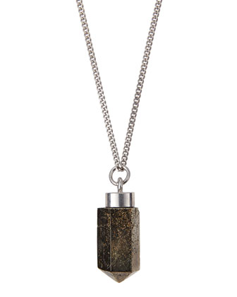 Silvertone Pyrite Pendant Necklace