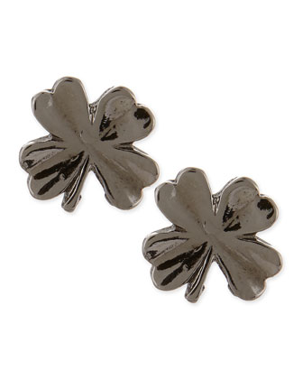 Shamrock Stud Earrings, Gunmetal-Plate
