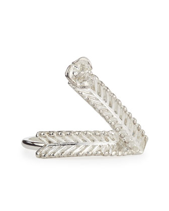 Wheat V Ring, Silver-Plate