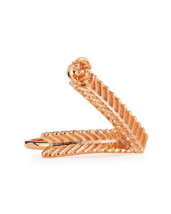 Wheat V Ring, Rose Gold-Plate