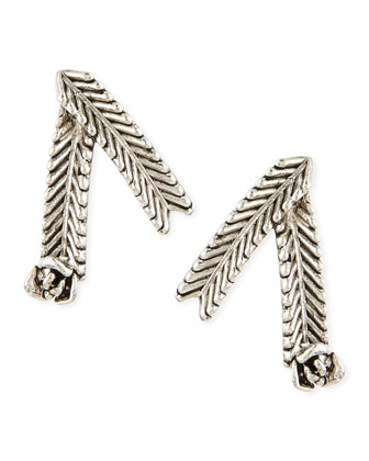 Wheat Stud Earrings, Silver-Plate