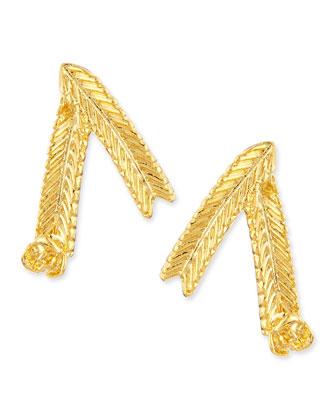 Wheat Stud Earrings, Gold-Plate