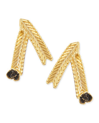 Wheat Stud Earrings, Gold-Plate/Black