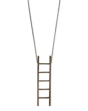 Large Ladder Necklace, Gunmetal-Plate