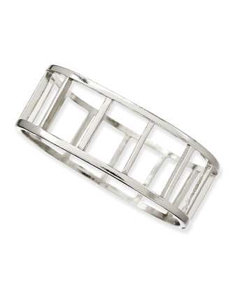 Large Ladder Bangle, Silver-Plate