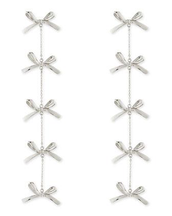 5-Tier Bow Earrings, Silver-Plate