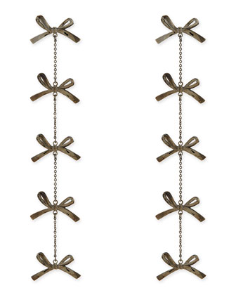 5-Tier Bow Earrings, Gunmetal-Plate