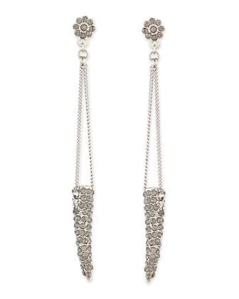 Pave Horn Dangle Drop Earrings, Sliver