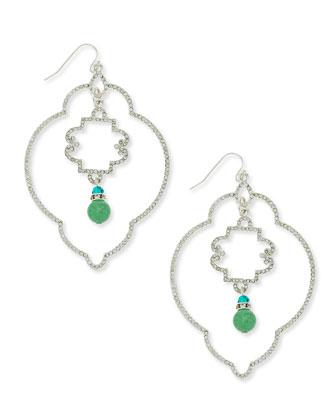 Deco Bead Earrings, Silvertone
